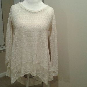 A'reve Ivory Lace sweater Bow Back Top Blouse